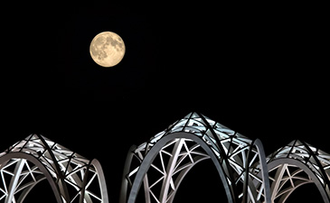 Pacific Science Center beneath a supermoon